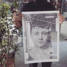 Stencil Graffiti - artista brasileiro Pina - papercutting