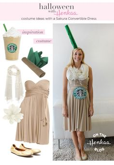 Need Halloween Costume Inspiration? Dress up as a Starbucks Frappuccino! There are infinite ways to rewear your Sakura Convertible Dress! - Craft ~ Your ~ Home Starbucks Halloween Costume, Themed Halloween Costumes, Cute Costumes, Halloween Kostüm, Diy Halloween Costumes, Costume Ideas, Halloween Customs, Trendy Halloween, Homemade Costumes