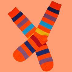 Orange Multi Stripe Socks | Bassin and Brown – Bassin And Brown Teal And Grey, Red And Blue, Multi Coloured Socks, Brown Socks, Striped Socks, Cotton Socks, Color Splash, Orange Color, Calves