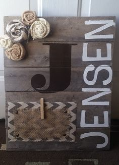 Name Custom Pallet Picture Frame by DearestObssesions on Etsy.someone crafty make this for me! Pallet Picture Frames, Pallet Pictures, Diy Picture Frames On The Wall, Personalized Picture Frames, Diy Projects To Try, Wood Projects, Craft Projects, Craft Ideas, Cute Crafts