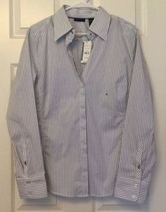 NWT New York & Co XL Button Front Collared Shirt White Blue Dot Stripes Long Slv #NewYorkCompany #ButtonDownShirt #CareerCasualClub