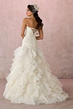 Organza Ivory Strapless Dropped Waist Wedding Dresses Corset Back