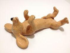 Ceramic+Dachshund+Dog+Sculpture+Sleeping+on+His+Back+by+CindiHale,+$25.00