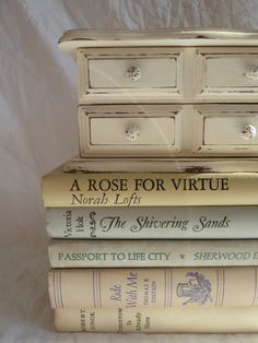 UPCYCLED vintage wood jewelry box painted in Annie Sloan Chalk paint old white cute photography and lovely knobs. gift for her or gift for young girl distressed shabby chic on Etsy, $22.00