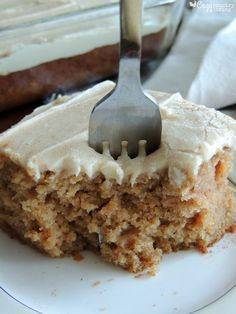 You are going to love this Easy, Incredibly Moist & Delicious Cinnamon Applesauce Cake with Penuche Frosting! You can even make it ahead of time:) 13 Desserts, Apple Desserts, Apple Recipes, Baking Recipes, Delicious Desserts, Cake Recipes, Dessert Recipes, Apple Cakes, Picnic Recipes