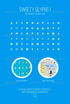 Sweety Glyphs Vol. 1  60 Basic Icons Set — Photoshop PSD #pack #gui • Available here → https://graphicriver.net/item/sweety-glyphs-vol-1-60-basic-icons-set/3476240?ref=pxcr