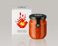 Simple and colorful 8-bit looking package illustration on this pepper confit.