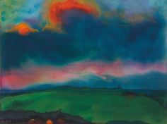 Emil Nolde - Abendliche Marschlandschaft (Seebüll) [Evening Marsh Landscape (Seebüll)], c.1935-40. Watercolour on thin Japan paper.