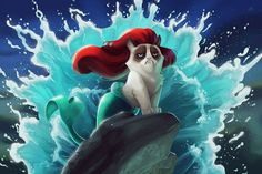 And Here Is Grumpy Cat As Various Disney Princesses - These are genius!!