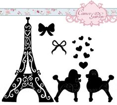 Digital Clipart - Silhouette Paris Poodles - Clip art for scrapbooking, Wedding invitations, Personal and Commercial Use Instant Download