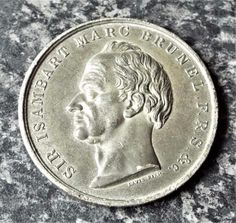 Sir Isambart Marc Brunel - Antique 1842 Thames Tunnel Medallion / Medal Personalized Items, Antiques, Antiquities, Antique