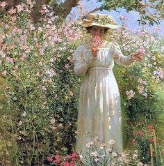 Reid, Robert Payton (b,1859)- Woman Smelling Roses (Summer's Day, Flower Garden)