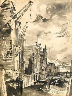 Buy online, view images and see past prices for John Minton (British, Cranes at Bankside 36 x cm. Invaluable is the world's largest marketplace for art, antiques, and collectibles. John Minton, John Crane, English Artists, British Artists, Pen And Wash, A Level Art, London Art, Art For Art Sake, New Artists