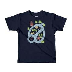 649598390 Kids Car Road Map Shirt Back Track Race Track Car Play Mat T-Shirt NAVY  Gift for Boys Twins Get Well