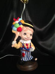 Boy Clown Ceramic Lamp/Kitsch Ceramic Clown Figurine Lamp/Vintage Refurbished Lamp/Carnival Theme Lamp/Clown Lamp/Boy with Balloons Lamp by PhilomenasCloset on Etsy