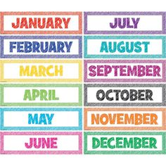 Scribble Monthly Headliners - Headliners add instant appeal to any classroom! Use them as titles for bulletin board displays. Line them up along a wall or above a chalkboard. 12 headliners per pack. Each headliner measures x Kindergarten Calendar, Preschool Calendar, Classroom Calendar, Homeschool Kindergarten, Homeschooling, Kindergarten Posters, Kindergarten Lessons, Classroom Ideas, Calendar Board