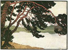 Carl Thiemann Etching I Pines Art Nouveau, Art Deco, Floral Illustrations, Topiary, Woodblock Print, Printmaking, Art Drawings, Landscape, Artwork