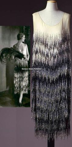 Evening dress, Chanel, 1924. Black & ivory chiffon with glass straw fringe. Color photo: Gabinetto fotografico SBAS, Mario Carrieri. Galleria del Costume di Palazzo Pitti via Europeana Fashion