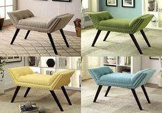 Wesby Modern Accent Bench Chair Seat Nailhead Trim Flax Fabric Black Wood Legs