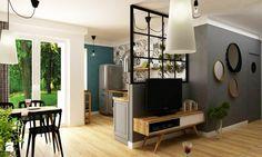 mieszkanie 60m2 turkusowy mocny akcent - Średni salon z kuchnią z jadalnią, styl skandynawski - zdjęcie od Grafika i Projekt architektura wnętrz