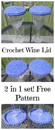 Crochet wine lid cover 2 in 1 coaster easy beginner