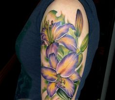 Realistic Lilly Flower Tattoo