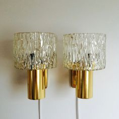 A Pair Of Danish Sconces - 1970s Danish Design - Danish Wall Lamps In Brass And Pressed Glass - Carl Fagerlund Style - Orrefors Style