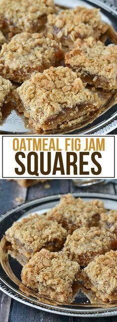 Fig Jam Squares Oatmeal Fig Jam Squares - 8 servings w 315 calories/pieceOatmeal Fig Jam Squares - 8 servings w 315 calories/piece Cookie Desserts, Just Desserts, Cookie Recipes, Delicious Desserts, Dessert Recipes, Yummy Food, Cookie Bars, Fig Dessert, Dessert Bars