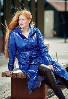 Vinyl Raincoat, Blue Raincoat, Pvc Raincoat, Patent Trench Coats, Rain Bonnet, Rain Coats, Rain Wear, Greatest Hits, Leather Jackets