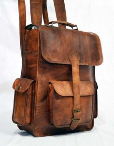 "Leather Messenger Bag Backpack 12"" Front Angle at MessengerBagsPlus.com"