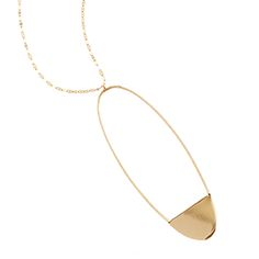 Lana Jewelry   Large Linear Eclipse Pendent   14K Gold