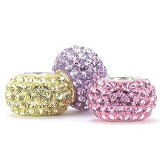 Set of 3 - Pink, Yellow & Lavender SWAROVSKI Crystal Pave Beads - Special Spring Color Mix - Solid .925 Sterling Silver Core European Charm Bead Made with Authentic Swarovski Crystals - Compatible Brand Bracelets : Authentic Pandora, Chamilia, Moress, Troll, Ohm, Zable, Biagi, Kay's Charmed Memories, Kohl's, Persona & more! Bella Fascini Beads,http://www.amazon.com/dp/B00JKUOYV2/ref=cm_sw_r_pi_dp_oCYrtb1WXGXR17X3