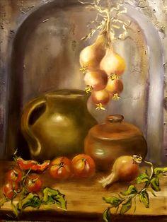Bodegón con cacharros de barro  oleo/lienzo  65x81