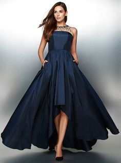 845d13e93f8 A-Line Illusion Neck Asymmetrical Taffeta High Low Prom   Formal Evening  Dress with Beading   Pleats by TS Couture®