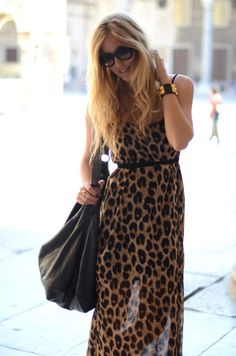 Leopard maxi, boho glam, spiked leather cuff, black bag