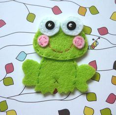 1pc  Green Frog Felt Applique  57x52mm  made to by rainbowbunnies, $1.50