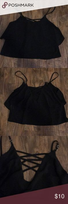 Black crop top Black crop top with a strappy design on back. 100% polyester. Some wear. Tops Crop Tops