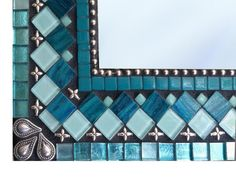 Handcrafted Mirror Mosaic Wall Mirror in Teal Aqua Turquoise by GreenStreetMosaics Mirror Mosaic, Glass Mosaic Tiles, Mosaic Wall, Mirror Bathroom, Beaded Mirror, Turquoise Bathroom, Mosaic Bathroom, Wall Mirrors, Mosaic Crafts