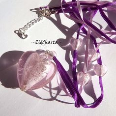 Necklace Big PINK SilverFoil LampWork HEARTS silk ribbons - Handmade Jewelry and Beadings by Ziddharta by Ziddharta on Etsy