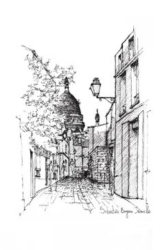 Gallery of The Importance of Sketches as a Form of Representation 13 is part of Landscape sketch - París Image © Sebastián Bayona Jaramillo Landscape Sketch, Landscape Drawings, Urban Landscape, Architecture Sketchbook, Art Sketchbook, Ink Pen Drawings, Art Drawings Sketches, Perspective Sketch, Building Sketch