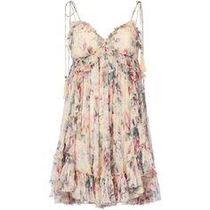 Zimmermann Women's Jasper Ruffle Floral Mini Dress ($595) ❤ liked on Polyvore featuring dresses, floral, vestidos, short dresses, pink spaghetti strap dress, short silk dress, short pink dress and floral mini dress