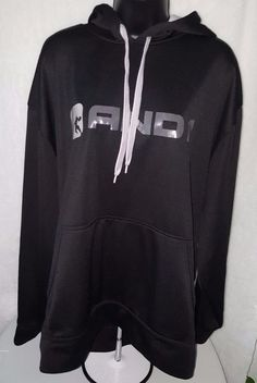 And1 Men's Black/Gray Logo Hoodie Pullover Size XL #and1 #SweatshirtCrew