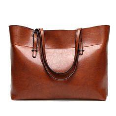 Fashion Shoulder Diagonal Oil Wax Wild Ladies Tote Bag -Brown €23.12  Dispatched in  16219262cd9de