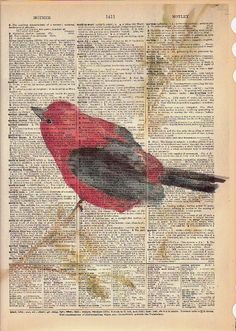 40% Off SALE September Bird Art Vintage Book Page por MaiAutumn