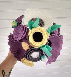 Wedding bouquet, wool felt flower bouquet, flower arrangement, bridesmaid bouquet, purplee flower bouquet, wildflower bouquet, wedding decor by madymae on Etsy https://www.etsy.com/listing/232075453/wedding-bouquet-wool-felt-flower-bouquet
