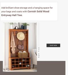 Add brilliant shoe-storage and a hanging space for your bags and coats with Cornish Solid Wood Entryway Hall Tree. #halltree #entryway #solidwood #shoestorage #furniture #cornerentryway #cornerhalltree #homedecor #decor #interiordecor #interior #interiordesign #bench #benchwithstorage #hanginghalltree