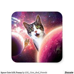 Space Cats LOL Funny Square Sticker