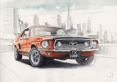 Pictures To Draw, Car Pictures, Muscle Cars, Kitten Drawing, Cool Car Drawings, Rendering Art, Street Racing Cars, Car Illustration, Rock Painting Designs