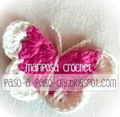 Aprende a realizar una mariposa tejida al crochet en dos colores, paso a paso. Es de sencilla elabo...