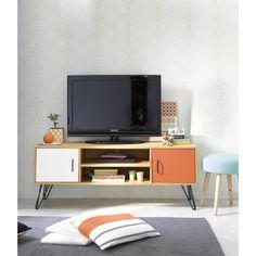 TV-Möbel im Vintage-Stil aus Holz, B 130cm, weiß/orange Twist | Maisons du Monde